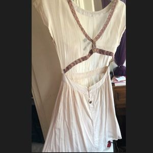 Boho Backless Dress with Embroidered Detail